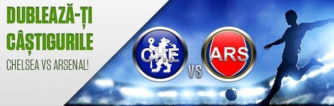 Dublează-ți câștigurile în meciul Chelsea vs Arsenal