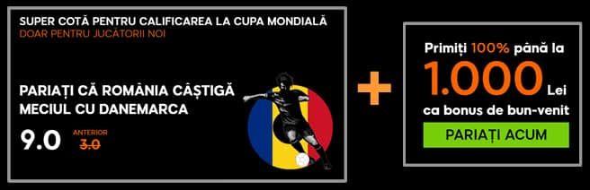 Pariază că România CÂŞTIGĂ meciul cu Danemarca la supercota de 9.0
