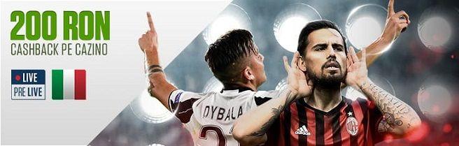 Bucură-te de 200 RON Cashback pe meciurile din Serie A