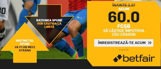FCSB are cota 60 pentru o victorie la Craiova