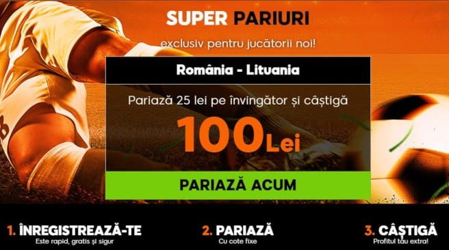 Pariaza pe meciul Romania - Lituania la 888sport